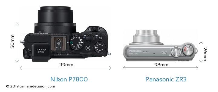 Nikon P7800 vs Panasonic ZR3 Camera Size Comparison - Top View