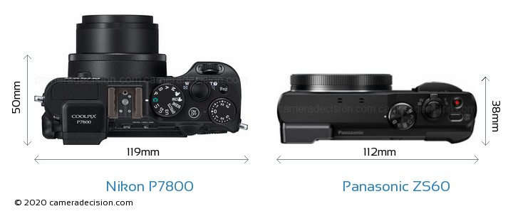 Nikon P7800 vs Panasonic ZS60 Camera Size Comparison - Top View