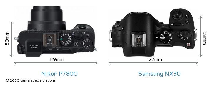Nikon P7800 vs Samsung NX30 Camera Size Comparison - Top View
