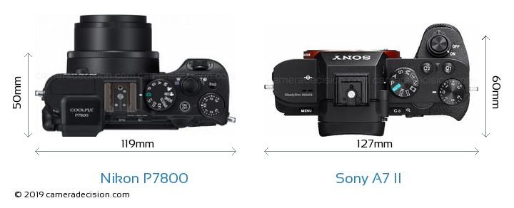 Nikon P7800 vs Sony A7 II Camera Size Comparison - Top View