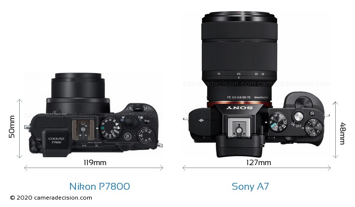 Nikon P7800 vs Sony A7 Camera Size Comparison - Top View