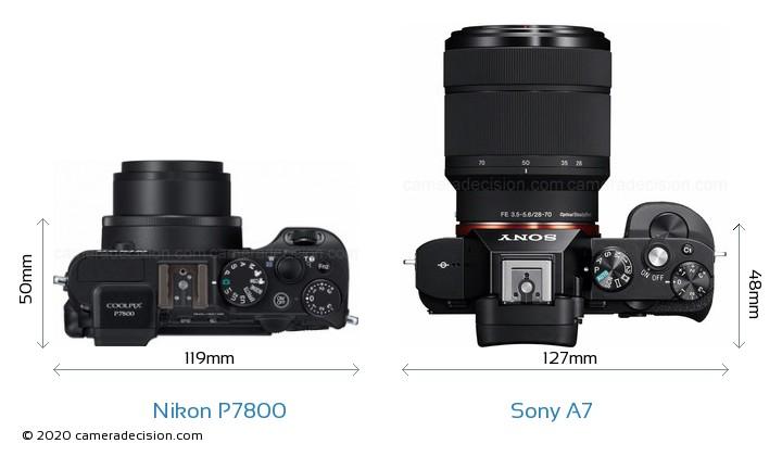 Nikon P7800 vs Sony A7 Camera Size Comparison - Top View