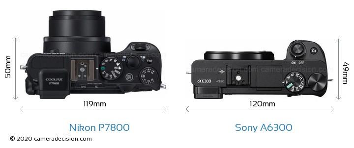 Nikon P7800 vs Sony A6300 Camera Size Comparison - Top View
