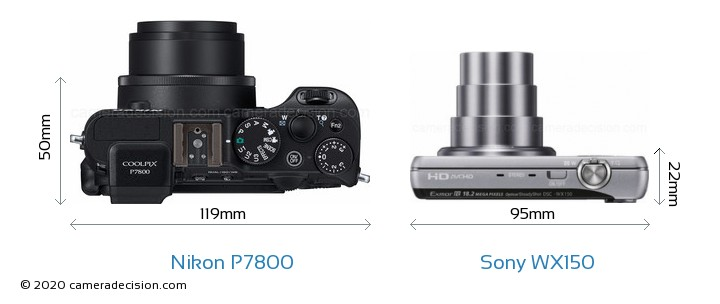 Nikon P7800 vs Sony WX150 Camera Size Comparison - Top View