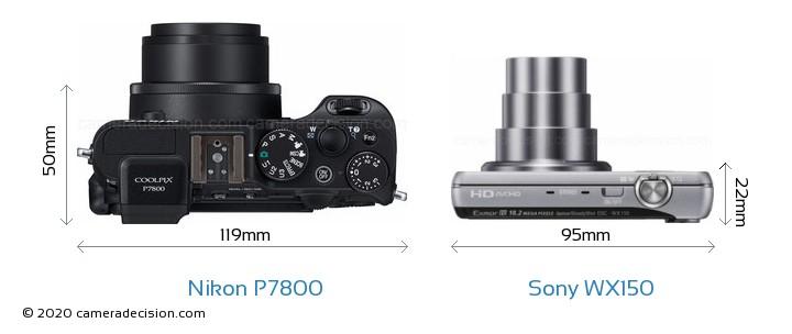 Nikon P7800 vs Sony WX150 Camera Size Comparison - Top View