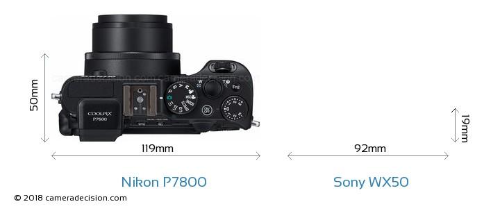Nikon P7800 vs Sony WX50 Camera Size Comparison - Top View