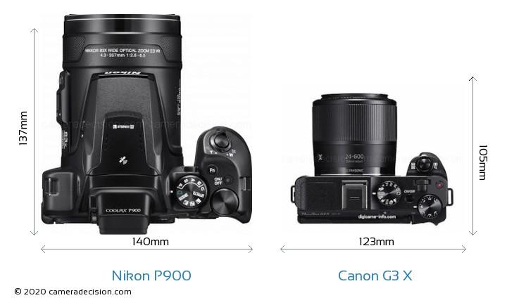 Nikon P900 vs Canon G3 X Camera Size Comparison - Top View
