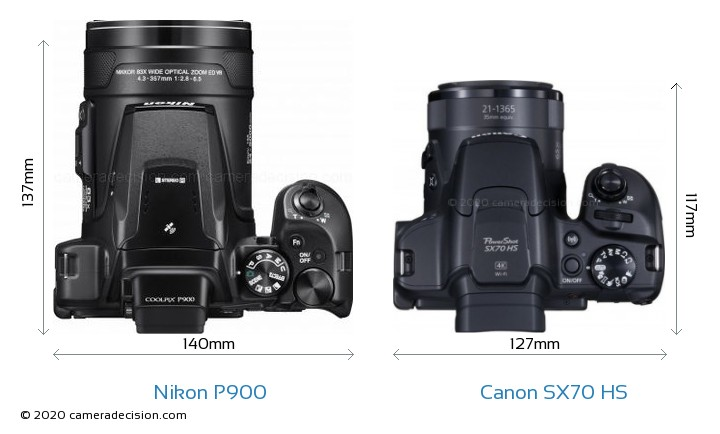 Nikon P900 vs Canon SX70 HS Camera Size Comparison - Top View