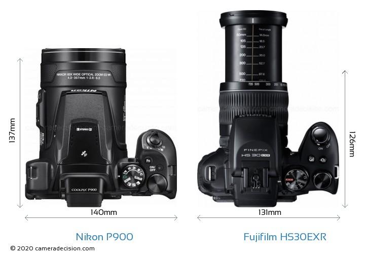 Nikon P900 vs Fujifilm HS30EXR Camera Size Comparison - Top View