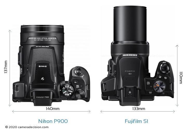 Nikon P900 vs Fujifilm S1 Camera Size Comparison - Top View