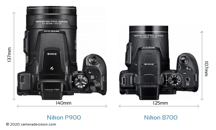 Nikon P900 vs Nikon B700 Camera Size Comparison - Top View