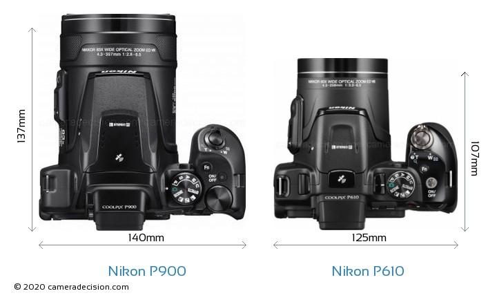 Nikon P900 vs Nikon P610 Camera Size Comparison - Top View