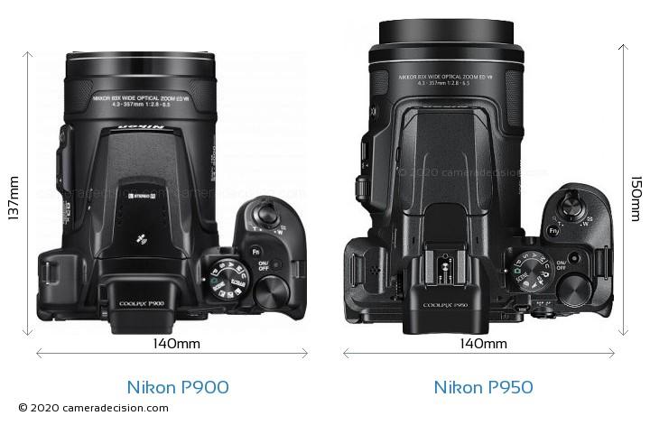 Nikon P900 vs Nikon P950 Camera Size Comparison - Top View