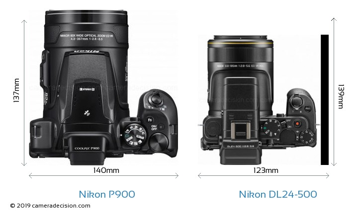 Nikon P900 vs Nikon DL24-500 Camera Size Comparison - Top View
