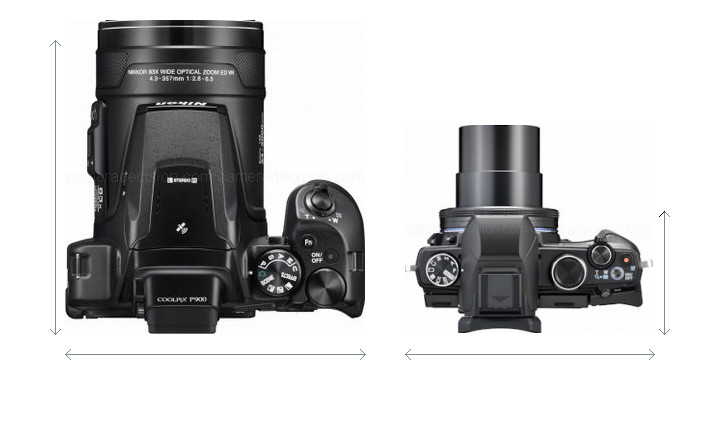 Nikon P900 vs Olympus 1s Camera Size Comparison - Top View