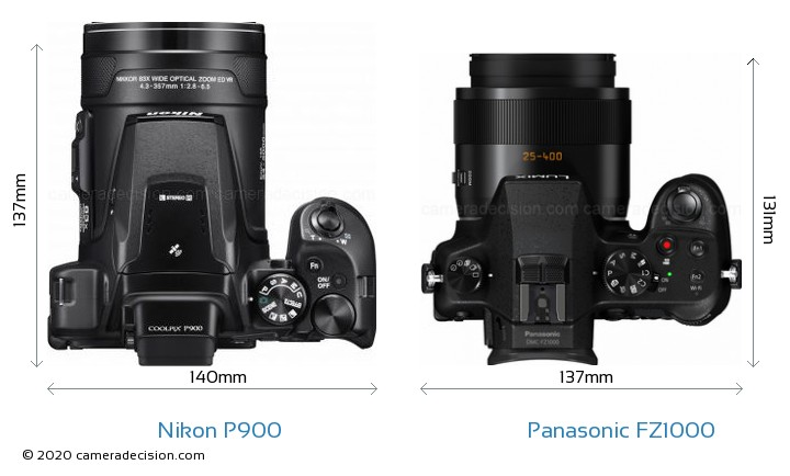 Nikon P900 vs Panasonic FZ1000 Camera Size Comparison - Top View