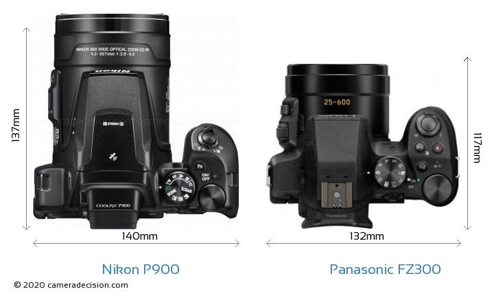 Nikon P900 vs Panasonic FZ300 Camera Size Comparison - Top View