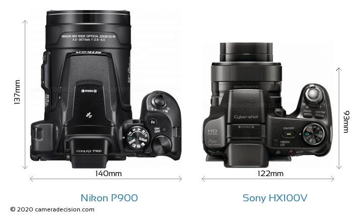 Nikon P900 vs Sony HX100V Camera Size Comparison - Top View