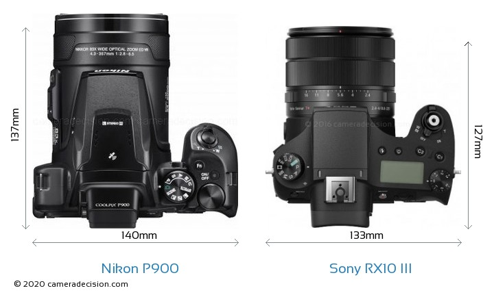 Nikon P900 vs Sony RX10 III Camera Size Comparison - Top View
