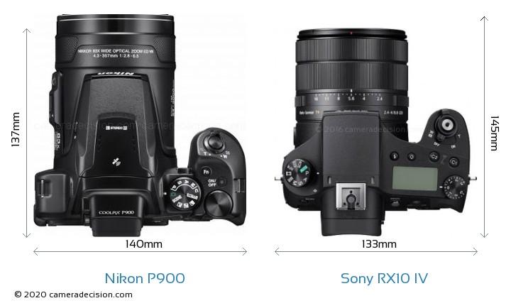Nikon P900 vs Sony RX10 IV Camera Size Comparison - Top View