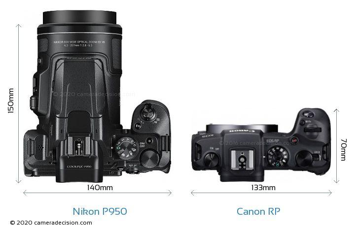 Nikon P950 vs Canon RP Camera Size Comparison - Top View