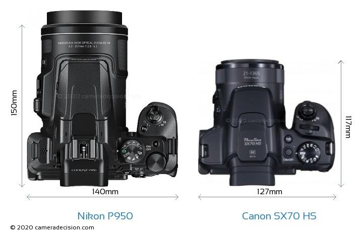 Nikon P950 vs Canon SX70 HS Camera Size Comparison - Top View