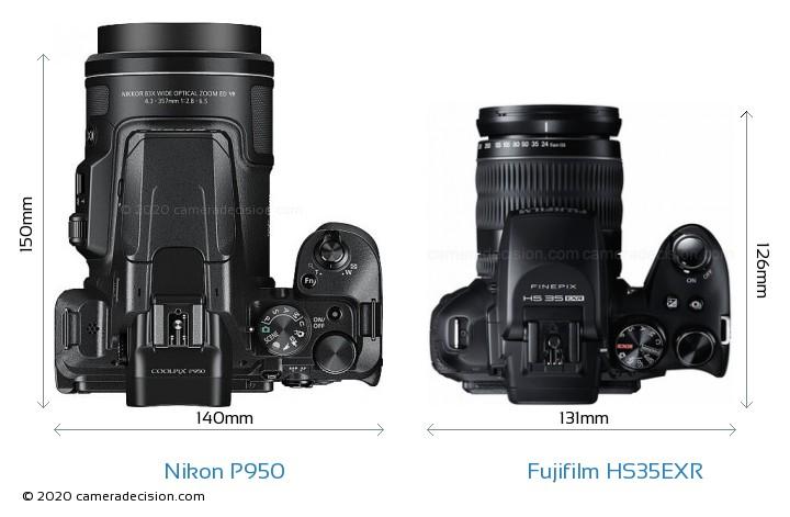 Nikon P950 vs Fujifilm HS35EXR Camera Size Comparison - Top View