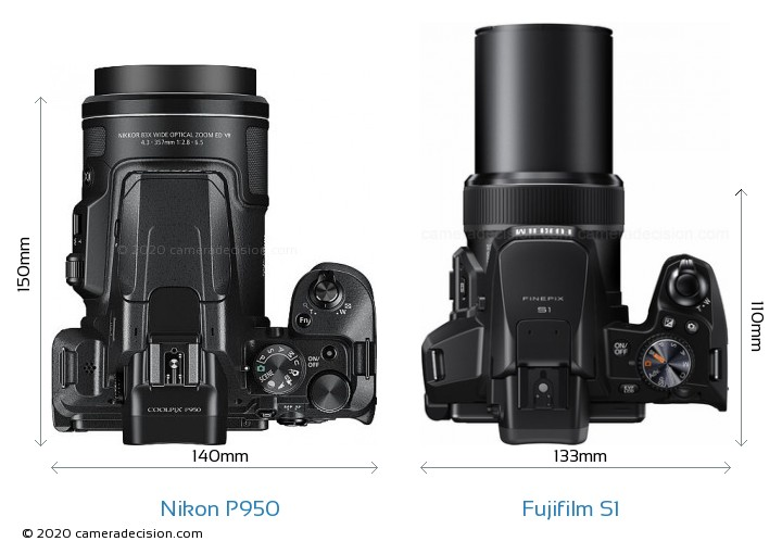 Nikon P950 vs Fujifilm S1 Camera Size Comparison - Top View
