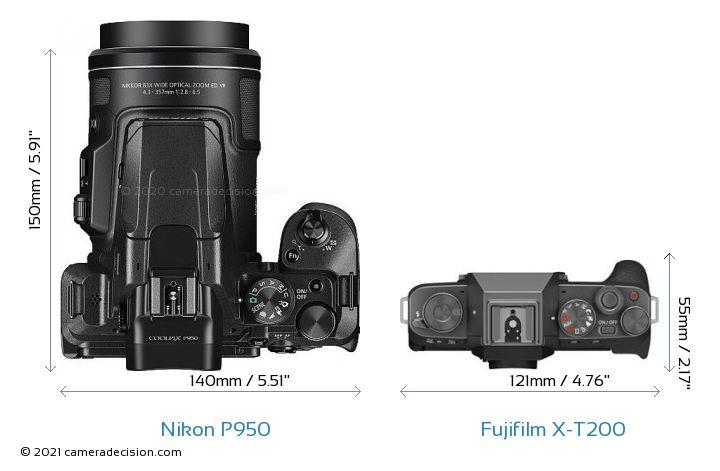 Nikon P950 vs Fujifilm X-T200 Camera Size Comparison - Top View