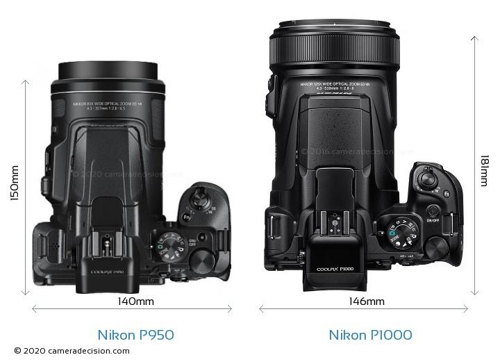 Nikon P950 vs Nikon P1000 Camera Size Comparison - Top View