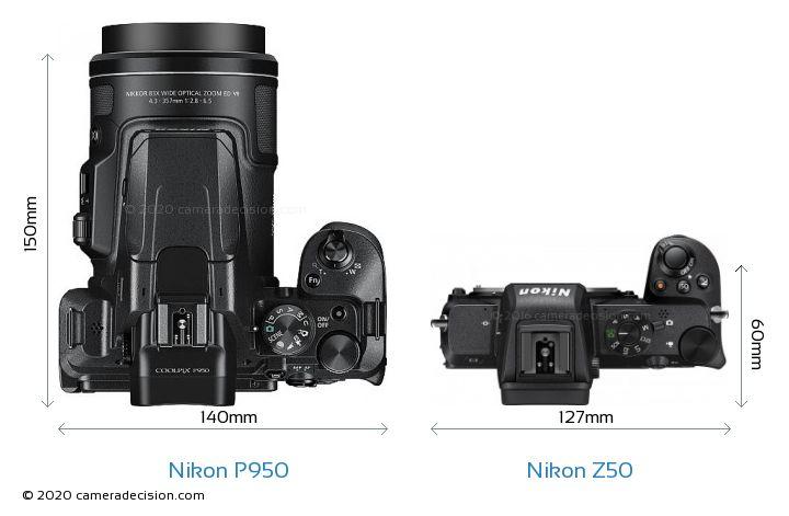 Nikon P950 vs Nikon Z50 Camera Size Comparison - Top View
