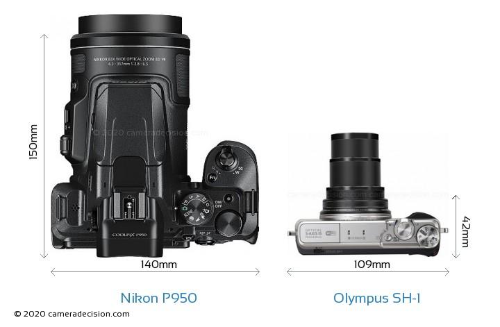 Nikon P950 vs Olympus SH-1 Camera Size Comparison - Top View
