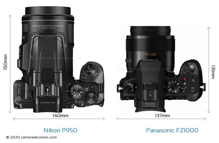 Nikon P950 vs Panasonic FZ1000 Camera Size Comparison - Top View
