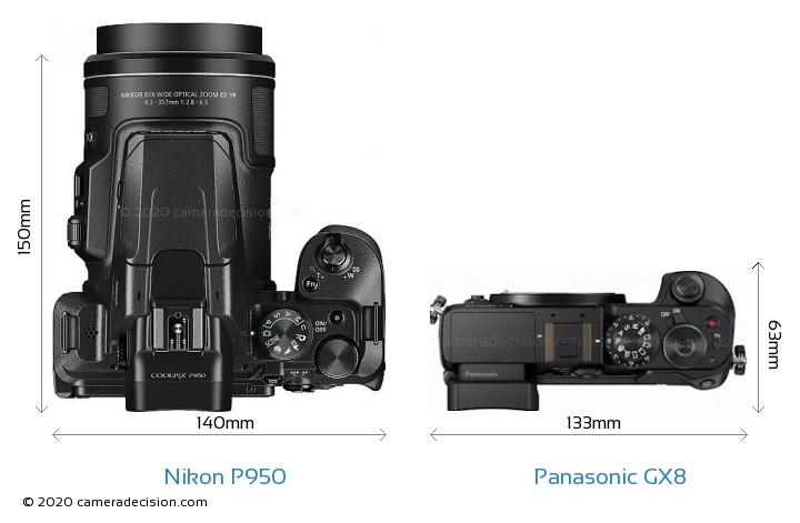 Nikon P950 vs Panasonic GX8 Camera Size Comparison - Top View