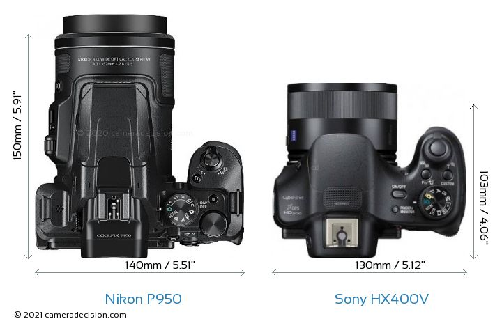 Nikon P950 vs Sony HX400V Camera Size Comparison - Top View