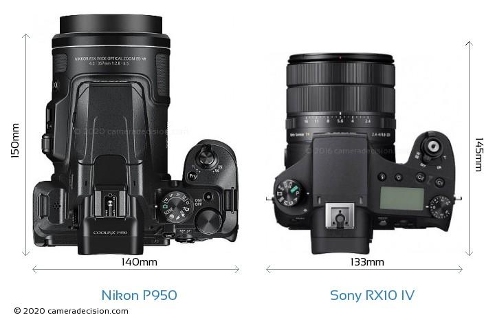 Nikon P950 vs Sony RX10 IV Camera Size Comparison - Top View