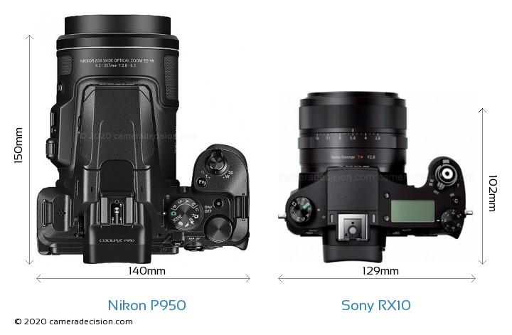 Nikon P950 vs Sony RX10 Camera Size Comparison - Top View