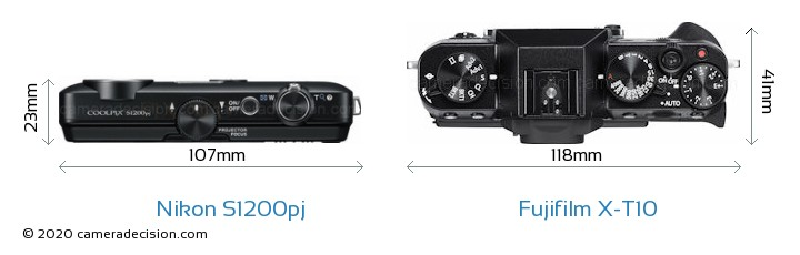 Nikon S1200pj vs Fujifilm X-T10 Camera Size Comparison - Top View