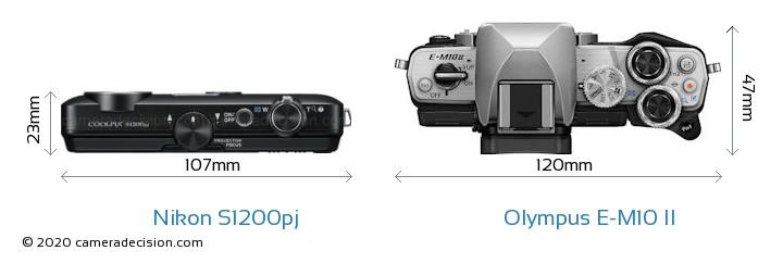 Nikon S1200pj vs Olympus E-M10 II Camera Size Comparison - Top View
