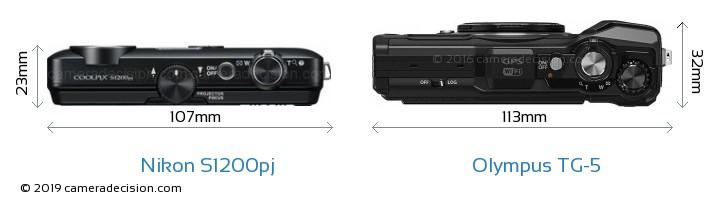 Nikon S1200pj vs Olympus TG-5 Camera Size Comparison - Top View