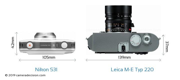Nikon S31 vs Leica M-E Typ 220 Camera Size Comparison - Top View