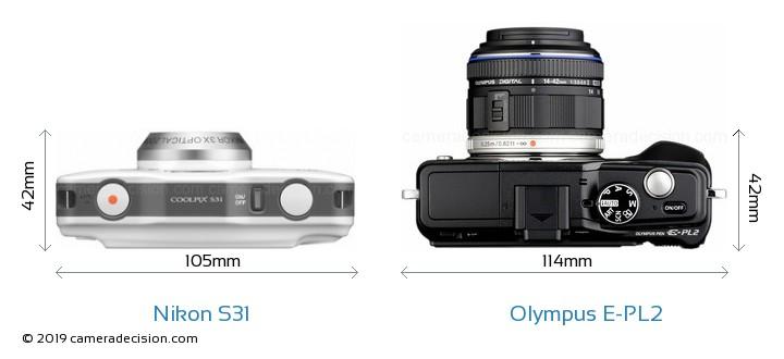 Nikon S31 vs Olympus E-PL2 Camera Size Comparison - Top View