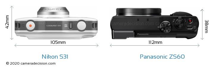 Nikon S31 vs Panasonic ZS60 Camera Size Comparison - Top View