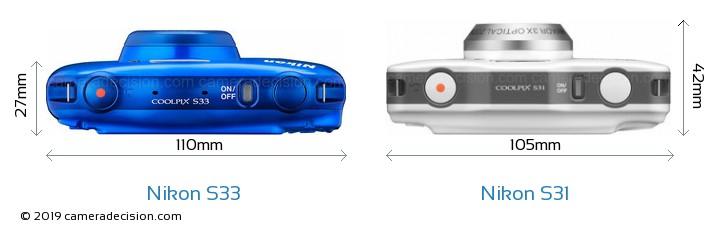 Nikon S33 vs Nikon S31 Camera Size Comparison - Top View