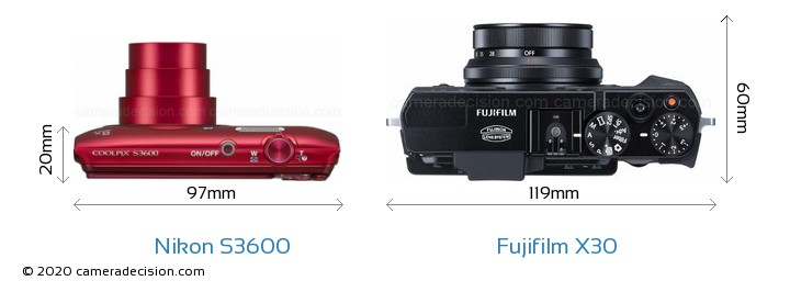 Nikon S3600 vs Fujifilm X30 Camera Size Comparison - Top View