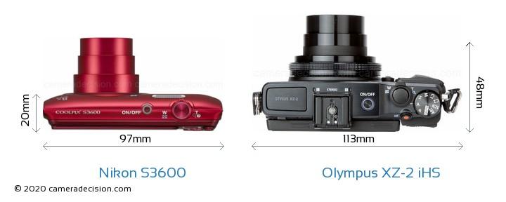 Nikon S3600 vs Olympus XZ-2 iHS Camera Size Comparison - Top View