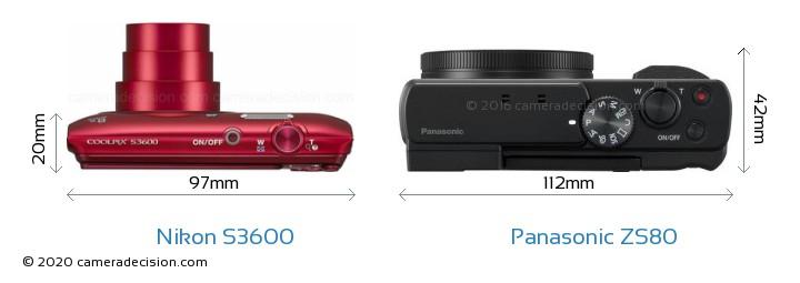 Nikon S3600 vs Panasonic ZS80 Camera Size Comparison - Top View