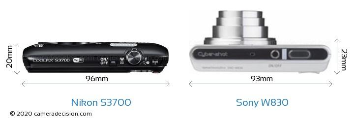Nikon S3700 vs Sony W830 Camera Size Comparison - Top View