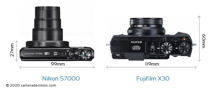 Nikon S7000 vs Fujifilm X30 Camera Size Comparison - Top View