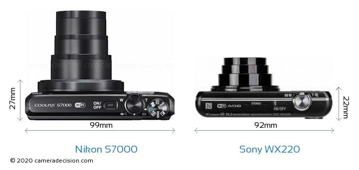 Nikon S7000 vs Sony WX220 Camera Size Comparison - Top View